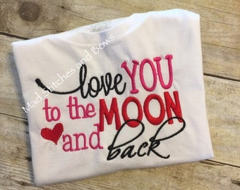 Custom embroidered love you to the moon and back