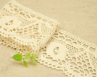Cotton Lace Trim 58mm Beige Cotton Ribbon Fabric Trim for Wedding Crafting B5
