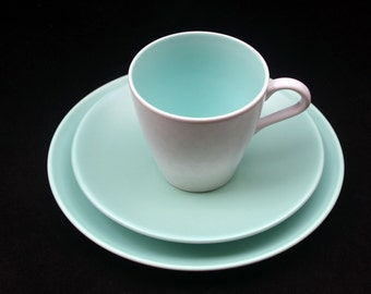 Classic Vintage Poole Twintone Seagull and Ice Green Tea Cup, Saucer and Side Plate Trio