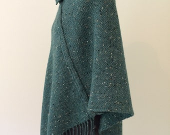 Handwoven Poncho-Green (with blue undertones)