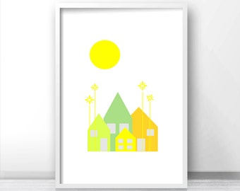 Printable nursery art, wall art nursery print, nursery wall decor print, Little houses on a sunny day nursery art