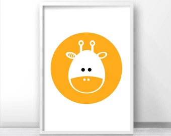 Baby Animal Nursery Art, Giraffe Nursery Print, Kids Art Print, Download Printable Nursery Decor, Yellow Baby Wall Art, Modern Kids Print