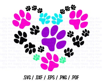Animal Pet Love SVG Clipart, SVG Office Wall Art, Pet SVG File, Silhouette Studio, Cricut Design, Brother Scan Cut, Die Cut Machines - CA244