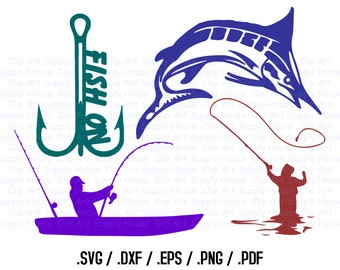Fishing SVG, Sailfish Clip Art, Fishing Sport Design Files, Silhouette Software, dxf files, SVG Font, EPS File, Cricut Design Space - CA254