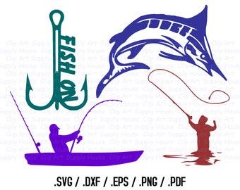 Fishing SVG, Sailfish Clip Art, Fishing Sport Design Files, Silhouette Software, dxf files, SVG Font, EPS File, Cricut Design Space - CA254