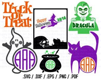 Halloween Monogram SVG, Happy Halloween Clipart, Halloween SVG File, Vinyl Cutters, Screen Printing, Silhouette, Die Cut Machine - CA342