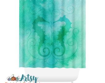 Bathroom Decor Ideas - Aqua and Green - Bathroom Decor - Shower Curtain