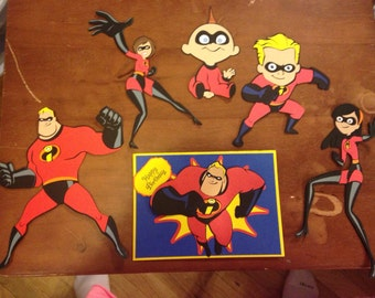 Set of 5 of the Incredibles die cuts with Birthday Card with envelope