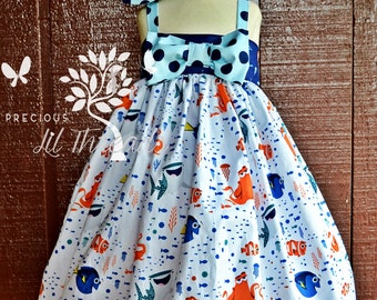 Baby - Toddler - Girls Custom Boutique Big Bow Dress or Tunic Top made with Disney Finding Dory Nemo fabric sz 6m- 8