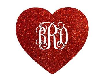 Glitter Iron On Heart with Initials, Iron On Monogram, Custom Iron On Decal, Iron On Sticker for Shirt