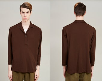 Sale! 80s Table Eight Brown Long Sleeve Polo Shirt • L
