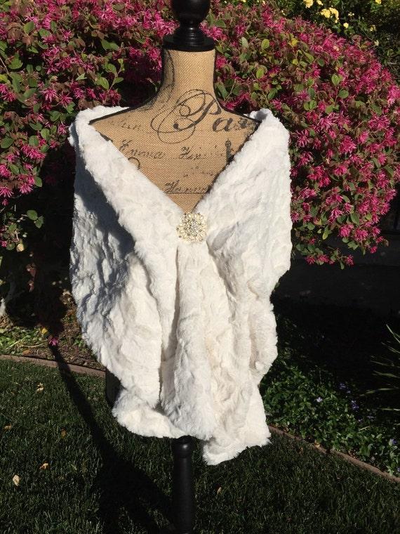 Cream faux fur wrap wedding stole bridal shawl bridal for Winter shawls for wedding dresses