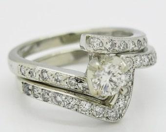 Diamond Bridal Ring Set 14K White Gold 6.5 grams