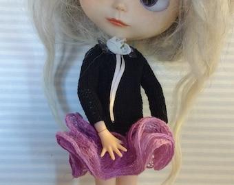 Blythe black dress with ruffle viola