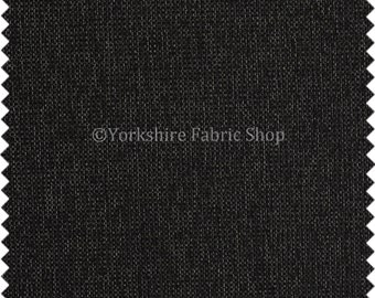 Quality Hopsack Weave Material Chenille Upholstery Fabric Black Colour For Soft Furnishings Sofas Curtains Home Interior - Sold By The Metre