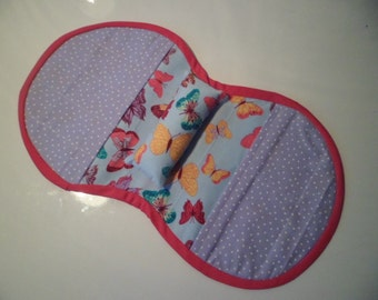Armchair Sewing Caddy - Fits Over Chair Arm - Lilac And Butterfly's - Pincushion - 7 Pockets