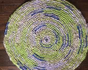 Lime Green and Blue Rag Rug