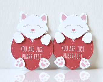 Mini Kitten Valentine's Cards Set of 12: cute cats heart cards, you are just perfect, purr-fect, white and red, sweet sayings, puns- LRD003V