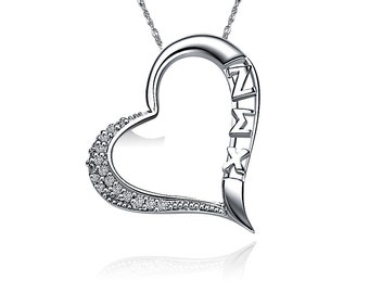 Zeta Sigma Chi Lavalier - Embedded Heart Design, Sterling Silver (ZSC-P004)