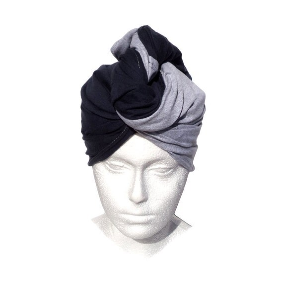 Grey Hair Towel: SALE Jersey T-shirt Hair Towel Navy Blue And Gray By BreezyTee