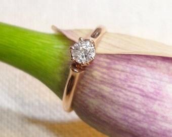 1950's Birmingham 14kt rose gold soilitaire diamond ring