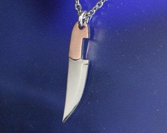 Chef Knife Miniature Pendant Mixed metal