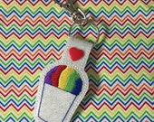 snow cone snowball in a styrofoam cup LOVE key fob snap tab keychain embroidery design Instant Download