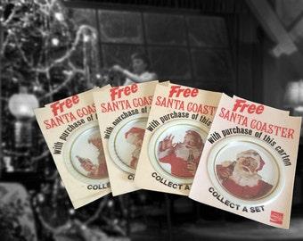 Rare Set of 4 Vintage Santa Claus Coca Cola Tin Coasters on Original Cards, 1983