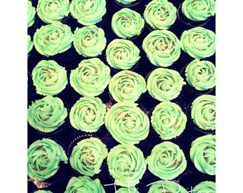 Cupcakes, Chocolate cupcakes with mint frosting.