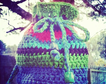 handmade crochet drawstring cotton boho hippie gypsy bag