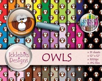 "Owls Digital Paper Pack ~ ""OWLS"" ~ 31 Sheets ~  Owl digital paper ~  CU Scrapbooking Paper ~ Rainbow Paper ~ Design #116"