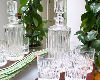 Gorham Crystal Decanter Set. 4 Old Fashioned Glasses. Quality Mint Condition Collectible Barware. Crystal. Decanter. Liquor. Dining Pleasure