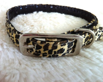The Leopard - upcycled small leopard print collar/Waterproof Collar/Animal Print Collar/Small Collar/Leopard Print/Dog Collar Small/Pet Wear