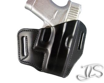 Glock 43 Leather Gun Holster Contoured Pancake Style OWB G43
