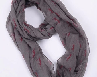 Gray Ant Infinity Scarf, Ant Scarf, Cute Ant, gray Ant Infinity Scarf Animal Scarf Small Ant Scarf  Loop Scarf Ant in Tan Scarf