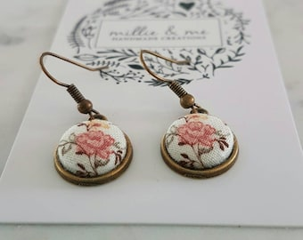 Antique bronze and floral fabric drop earrings