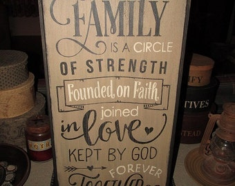"""Primitive Framed Wood Sign   Family Is Circle Of Love Sign   Inspirational Sign   Family Sign   Home Decor Sign   11.75"""" W x 24.5"""" L"""