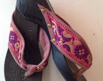 Vintage Balinese Ribbon Thong Sandals