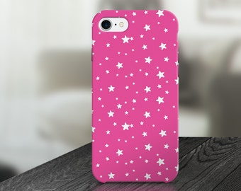 Pink White Stars Cute Cell Phone Case- IPHONE 6, 6S, 6 Plus, 6S Plus /  Samsung Galaxy S6 Edge, S6, S7  -made to order