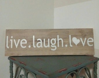 Live Laugh Love Rustic Wood Weathered Sign - Home decor - Wood Wall Art
