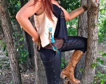 FREE SHIPPING! leather vest, boho, hippie, chic, native, tribal, gypsy, ethnic, ethnic fur vest