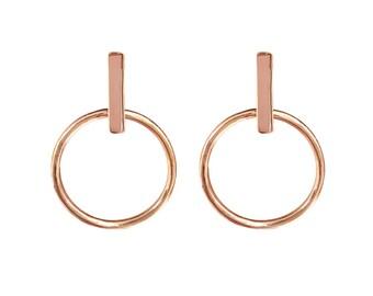Small Hoop Earring with Bar Stud in Sterling Silver, 14k Gold Vermeil, 14k Rose Gold Vermeil