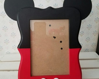 Mickey Mouse Inspired Wood Picture Frame, 5x7 photo frame, picture frame, Birthday decor, Room decor,