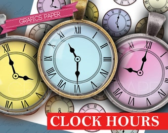 """Download Images Clock hours Digital Collage Sheet  1 inch Circles, 1.5"""", 1.25"""", 30mm, 25mm, Jewelry Making, Bottle Caps, Scrapbooking td191"""