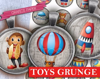 """Toys Printable Digital Collage Sheet 1 inch 1.5"""", 1.25"""", 30mm Digital Circle round clipart round clip art circle clipart scrapbooking- td333"""