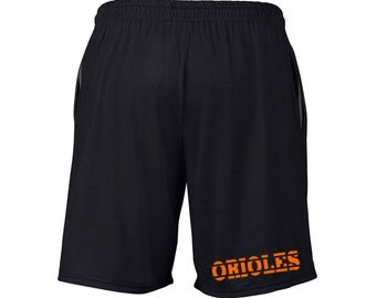 Mens Orioles Shorts Black Sizes Small - 2XL