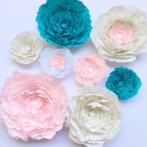 Giant crepe paper peony peony wall flower paper by for Crepe paper wall flowers