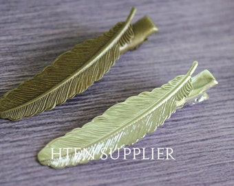 20pcs Silver Antique Bronze feather Bobby Pins