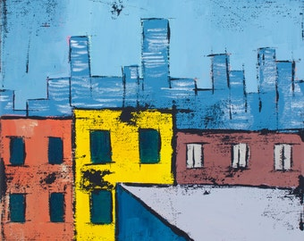 "Original Landscape Acrylic Canvas Painting ""Manhattan"""