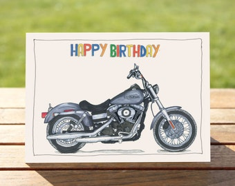 "Motorcycle Birthday Card | Harley Davidson Street Bob | A6 - 6"" x 4"" / 103mm x 147mm 